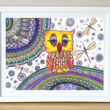 Yellow Owl Golden Dragonflies Original Drawing, Owl Illustration, Zentangle art Mandala Drawing, Nursery Wall decor, Bohemian Home decor