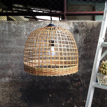 Rustic pendant light, wicker artisan lamp shade size 43cm.basket light,square grid pattern bamboo lamp