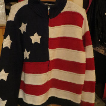 VINTAGE  hand knit  cotton Tommy Hilfiger AMERICAN fLAG Stars  and  STRIPES  cardigan sz xlarge