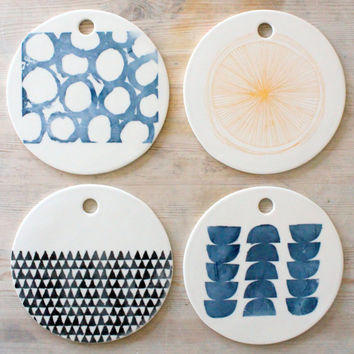 MADE TO ORDER porcelain round cheese tray platter screenprinted blue rings design.