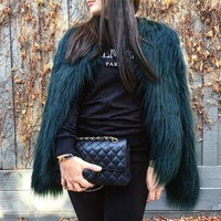 Lovely Green Faux Fur Coat