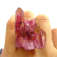 Ruby Rose Aura Quartz RARE Mountain Peak Aura Cluster by AstralEYE