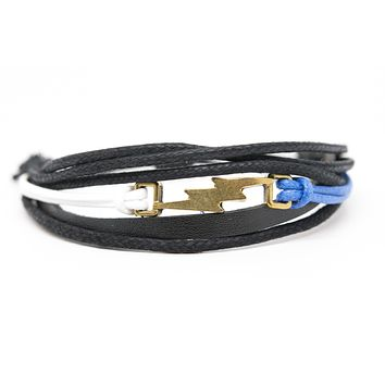 Lightning Bolt White Blue Rope and Black Leather Adjustable Unisex Charm Bracelet