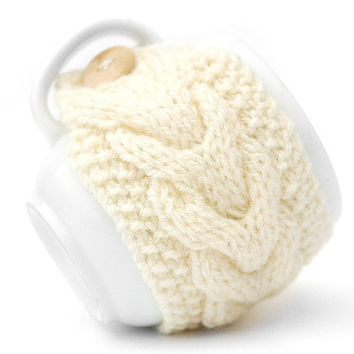 White Cream Aran Hand Knit Mug Warmer