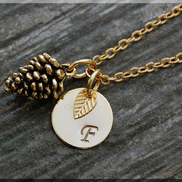 Gold Pine Cone Charm Necklace, Initial Charm Necklace, Personalized, Pinecone Pendant, Fall Nature Jewelry,  Pine Cone Monogram Necklace