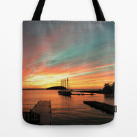 Autumn Sunrise Bar Harbor maine Tote Bag by Wood-n-Images