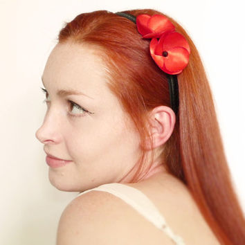 Red poppy on black headband satin & Swarovski LIMITED EDITION by Jye, Hand-made in France