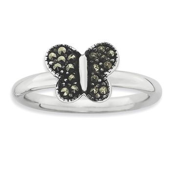 Sterling Silver Stackable Expressions Marcasite Butterfly Ring