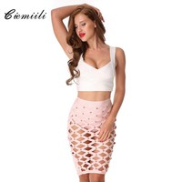 CIEMIILI 2017 Summer Newest Women Bandage Skirts Sexy Evening Prom Hollow Out Club Wear Knee-length Pencil Skirts Free Shipping
