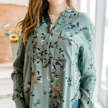 Floral Button Down Tunic Top