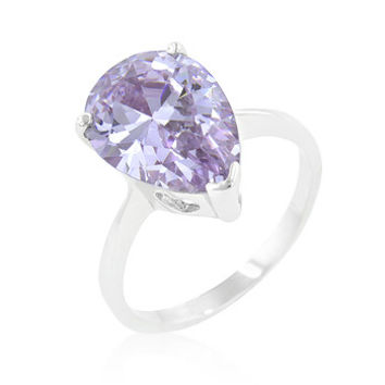 Solitaire Purple Pear Cut Ring