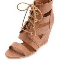 Single Sole Cut-Out Lace-Up Wedges by Charlotte Russe - Cognac