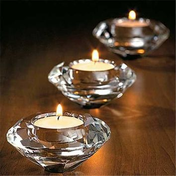 Glass Crystal Tea Light Candelabra Candle Holders Stand Candlestick Home Decor
