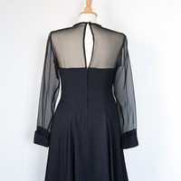 Women's 1960's Black High Neck Semi Formal Holiday Party Dress (Vintage)