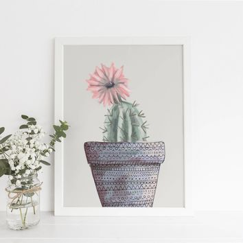 Neutral Cactus Succulent Art Print