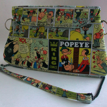 Popeye the Sailor Man Clutch Purse with Chain Strap / Olive Oyl Bag / Comic Strip