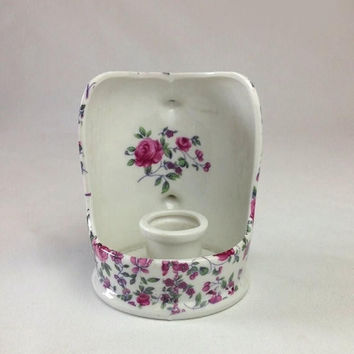 Chintz Candle Holder, Vintage Royal Embassy Porcelain Candlestick, Red Roses, Ladies Boudoir Chamberstick