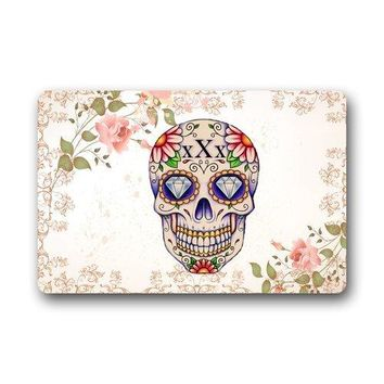 Custom Cute Unique Pink Floral Sugar Skull art Custom Indoor/Outdoor Door mats
