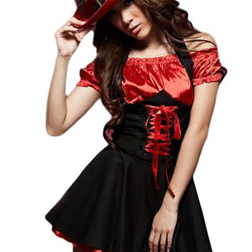 Atomic Red and Black Vixen Pirate Costume
