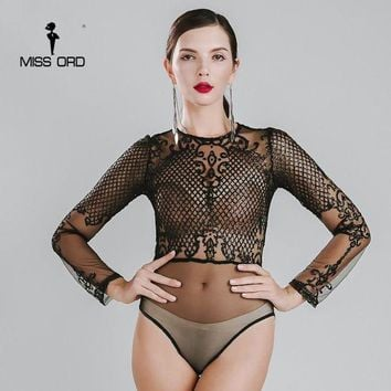 PEAP78W Missord 2015 Sexy O-neck long sleeve sequin bodysuit FT4754-1