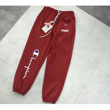 Chanpion & Supreme Joint Summer Casual Trousers Sweatpants F-CY-MN red