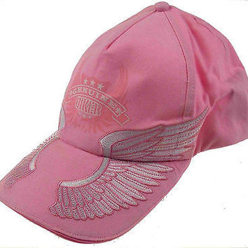 Lot 2 Rolling Steel Thunder Genuine Biker Pink Adult Hat Cap Embroidered Wings