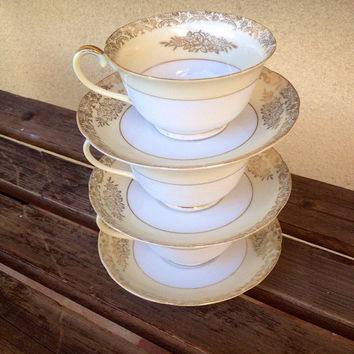 Goldena China Teacup and Saucer - Fine China made in Japan