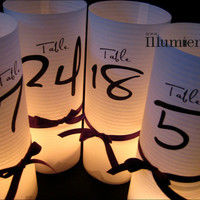 15 Numbered Luminary Centerpiece - 8.5 inch - Table Number Wedding Reception
