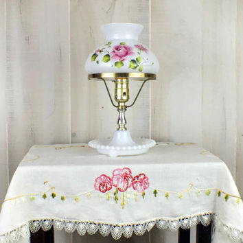Vintage Milk Glass Lamp with Hand Painted Roses