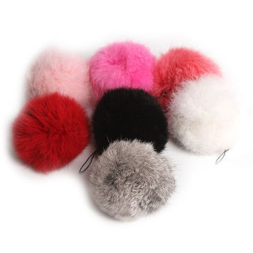 Hot Cute Genuine Soft Rabbit Fur Ball Handbag Key Chain Cell Phone Car Pendant = 1932890948