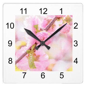 Pink sakura flowers - Japanese cherry blossom Square Wall Clock