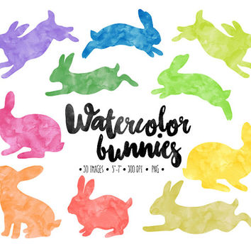 Easter Bunny Clip Art. Watercolor Easter Bunny Silhouettes. Hand Painted Bright Easter Bunnies. Invitation, Scrapbooking Rabbit Clipart.