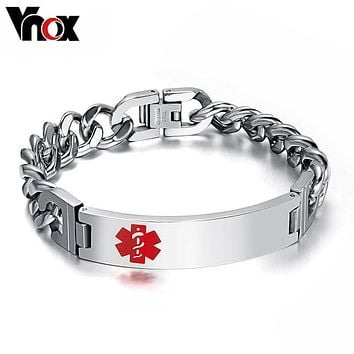 Vnox Customized Medical Remind Bracelet & Bangles ID Tag Engraved Name Stainless Steel Chain for Women / Men