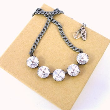 Clear crystal Swarovski 5-stone necklace, 12mm rivoli, diamond like sparkle, Great PRICE,