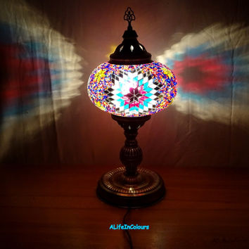 20 inch- Unique Turkish handmade colourful big size glass mosaic bedside lamp, table lamp, bedroom night lamp, livingroom lamp.