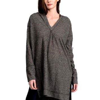 Boho Loose fit, v-neck long sleeve tunic hoodie with high low side slit, Taupe