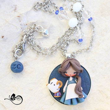 polymer clay necklace / steampunk Alice / disney / princess / clay