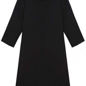 Black Solid Round Neck 3/4 Sleeve Plus Size Dress