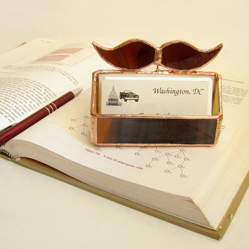 Business Card Holder Stained Glass Mustache by FleetingStillness