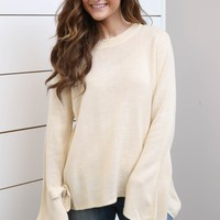 Natural Sweater W/ Tie Sleeves