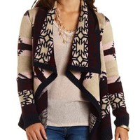 Aztec-Striped Cascade Cardigan Sweater - Burgundy Cmb