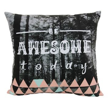 Simple by Design ''Be Awesome Today'' Throw Pillow (Grey)