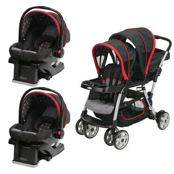 Graco Red Double Seated Twin Stroller and 2 Car Seats Travel System, Marco