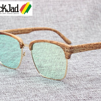 2016 New Fashion T LOGO Wood Grain Design Sunglasses Men Women Vintage Classic Half Frame Sun Glasses UV400 Oculos De Sol 9643