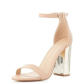 Two-Piece Gold-Heel Sandals