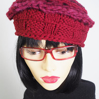 handmade burgundy beret / hand knit berry beret / hand crocheted wine beret / hand crochet red tam / teen girl hat / woman winter hat / OOAK
