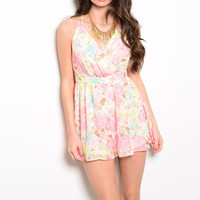 Floral Print Open Back Romper in Pink
