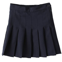 Dark Blue Pleated Mini Skirt