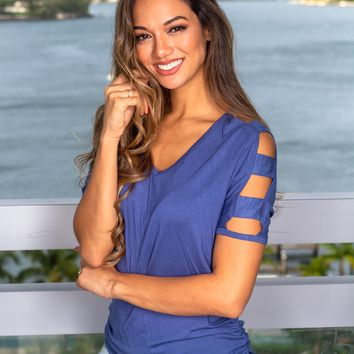 Indigo Blue Top with Strap Detail Sleeves