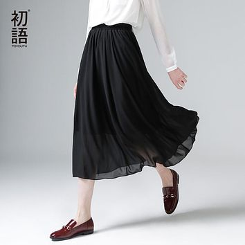 Toyouth 2017 New Arrival Spring Summer Elastic Waist Solid A-Line Chiffon Ankle-Length Peppy Women Skirts